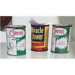 3 VINTAGE SPOTOIL & MIRACLE POWER OIL ADDITIVE 4OZ TINS