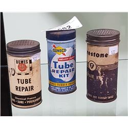 3 VINTAGE FIRESTONE, SUNOCO, BOWES TIRE REPAIR KITS