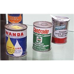 3 VINTAGE PRESTONE, CASTROL, WANDA OIL ADDITIVE TINS 4Z