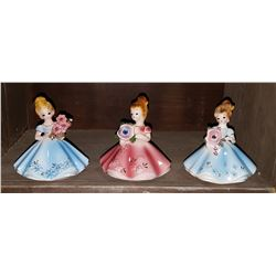 3 VINTAGE JOSEF ORIGINALS GIRL FIGURINES