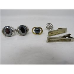 LOT OF TIECLIPS, CUFF LINKS, ETC (CUFFLINKS ARE LIKE ALASKA BLACK DIAMOND)