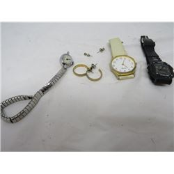 LOT OF 3 WATCHES & EAR RINGS (SPORTS, QUARTZ, TIMEX)
