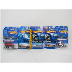 LOT OF 5 ASSORTED HOTWHEELS (TEE'D OFF, ALFA ROMEO, MERCEDES UNIMOG, ETC...) *N.O.S.*