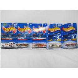LOT OF 5 ASSORTED HOTWHEELS (MUSTANG, COBRA, WILLYS, ETC...) *N.O.S.*
