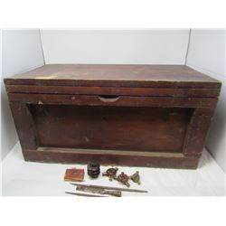 WOODEN CRATE (CONTAINS VARIOUS BAGS OF NAILS, CERAMIC INSULATOR, VARIOUS SMALL PARTS AND FILES) *24X