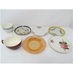 LOT OF 7 ASSORTED SAUCERS, CUPS (SOME CRACKS AND CHIPS IN FINISH)