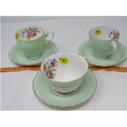 LOT OF 3 TEACUPS & SAUCERS (MADE IN ENGLAND) *1 TEACUP CRACKED*