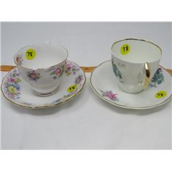 LOT OF 2 TEACUPS & SAUCERS (MADE IN ENGLAND)