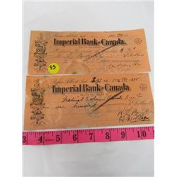 2 IMPERIAL BANK OF CANADA CHEQUES (1936)