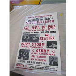 VINTAGE 1962 BEATLES, GERRY AND THE PACEMAKERS, BILLY KRAMER MUSIC CONCERT POSTER