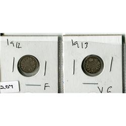 2  - 1912 & 1913 CNDN SMALL NICKELS (SILVER)