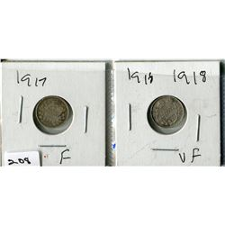 2  - 1917 & 1918 CNDN SMALL NICKELS (SILVER)