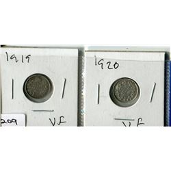 2  - 1919 & 1920 CNDN SMALL NICKELS (SILVER)
