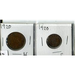 2 - 1920 CNDN PENNIES (LARGE & SMALL)