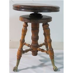 VINTAGE PIANO STOOL WITH EAGLE CLAW FOOT