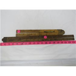 EXTENDABLE FOLDABLE RULERS, BRASS FITTINGS, 48 INCHES BY 36 INCHES