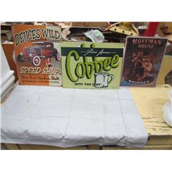 LOT OF 3 SIGNS (COFFEE, WHISKEY, SPEEDSHOP) *REPRODUCTION*