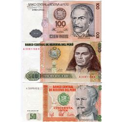 PAPER CURRENCY (PERU) *50 TO 500 INTIS*