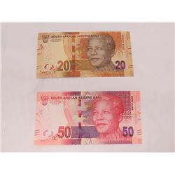 PAPER CURRENCY (SOUTH AFRICA) *20 & 50 RAND MANDEL, CAT VAL $20+++*