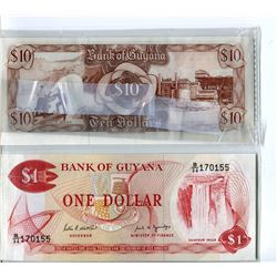 PAPER CURRENCY (GUYANA) *$1 & $10* (UNC.)
