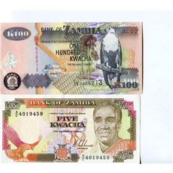 PAPER CURRENCY (ZAMBIA) *5 & 100 KWACHA, CAT VAL $9* (UNC.)