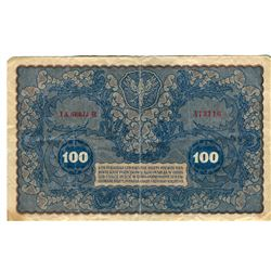 PAPER CURRENCY (POLAND) *100 ZLOTYCH 1919* (AFTER WW1 WAS INFLATION CURRENCY)