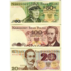 PAPER CURRENCY (POLAND) *20, 100, 500 ZLOTYCH*