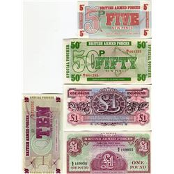 PAPER CURRENCY (BRITISH ARMED FORCES) *5, 10, 50 PENCE, 1 POUND X2* (ISSUED FOR CANTEEN PURCHASES)