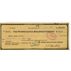 1928 CHEQUE (ISSUED BY PENNSYLVANIA RAILROAD CO. ) *PAYMENT OF $7.31 FOR INLAND FREIGHT*