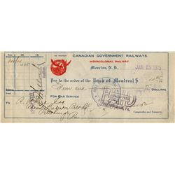 1915 CHEQUE (ISSUED BY INTERCOLONIAL RAILWAY - CNDN GOV. RAILWAY, MONCTON, NB ) *PAYMENT OF $4.05*