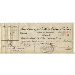 1915 CHEQUE (ISSUED BY TEMISKAMING, NORTHERN, ONT. RAILWAY) *PAYMENT OF .90*