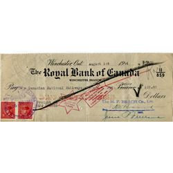 1944 CHEQUE (ISSUED BY CNDN NAT. RAILWAY) *PAYMENT OF $102.92*