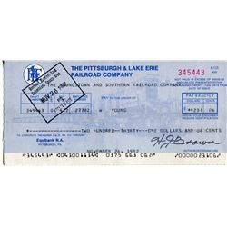 1982 CHEQUE ( PITTSBURG & LAKE ERIE RAILROAD CO.) *PAYMENT OF $231.06*