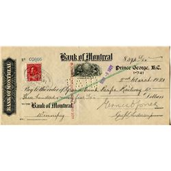 1921 CHEQUE (GRAND TRUNK PACIFIC RAILWAY CO.) *PAYMENT OF $394.68*