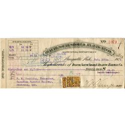 1922 CHEQUE (DULUTH, SOUTH SHORE 7 ATLANTIC RAILWAY CO.) *PAYMENT OF $64.11*