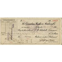 1944 CHEQUE (ISSUED BY CNDN NAT. RAILWAY) *PAYMENT OF .95*