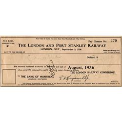 1936 CANCELLED PAYROLL CHEQUE (LONDON & PORT STANLEY RAILWAY, LONDON, ON)