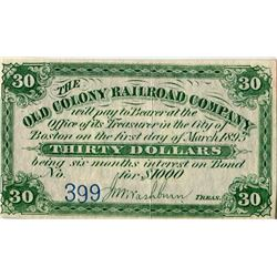 STOCK RECEIPTS/COUPONS (THE OLD COLONY RAILROAD COMPANY, BOSTON) *1893*