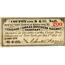 STOCK RECEIPTS/COUPONS (CHICAGO & CANADA SOUTHERN RAILWAY CO., NEW YORK) *1876*