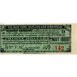 STOCK RECEIPTS/COUPONS (NEW YORK, RUTLAND & MONTREAL RAILWAY, NEW YORK ) *1888*