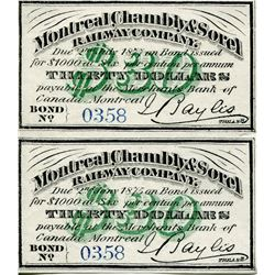 STOCK RECEIPTS/COUPONS (MONTREAL CHAMBLY & SOREL RAILWAY CO, MONTREAL) *1875*