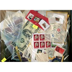 BAG OF STAMPS (MOSTLY CANADIAN)