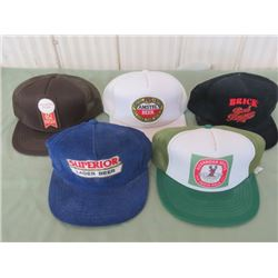LOT OF 5 BASEBALL CAPS (BRICK RED BARRON, AMSTEL, SUPERIOR LAGER, ALEXANDER KEITH, INDIA PALE ALE &