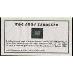 THE GRAF ZEPPELEN CERTIFIED PIECE OF OUTER FABRIC (PRESENTED TO CLARA ADAMS, 1928, ONLY WOMAN PASSEN