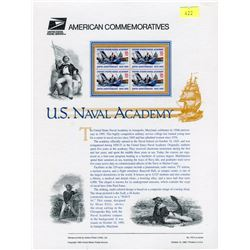 STAMP COLLECTION (U.S. NAVAL ACADEMY COMMEMORATIVE PANELS ) *BLOCK OF 4 STAMPS & BOOKLET*