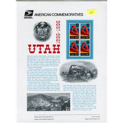 STAMP COLLECTION (UTAH 1896-1996) *BLOCK OF 4 STAMPS & BOOKLET*