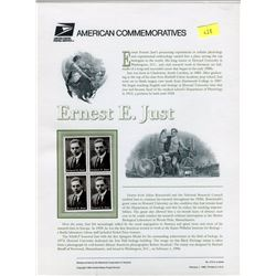 STAMP COLLECTION (ERNEST E. JUST) *BLOCK OF 4 STAMPS & BOOKLET*