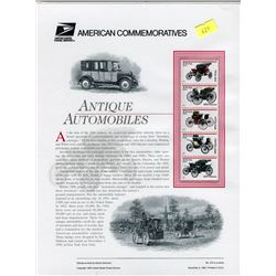 STAMP COLLECTION (ANTIQUE AUTOMOBILES) *BLOCK OF 4 STAMPS & BOOKLET*