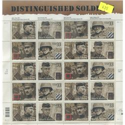 SHEET OF 20 STAMPS (U.S. DISTINQUISHED SOLDIERS)