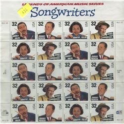 SHEET OF 20 STAMPS (U.S. SONGWRITERS)